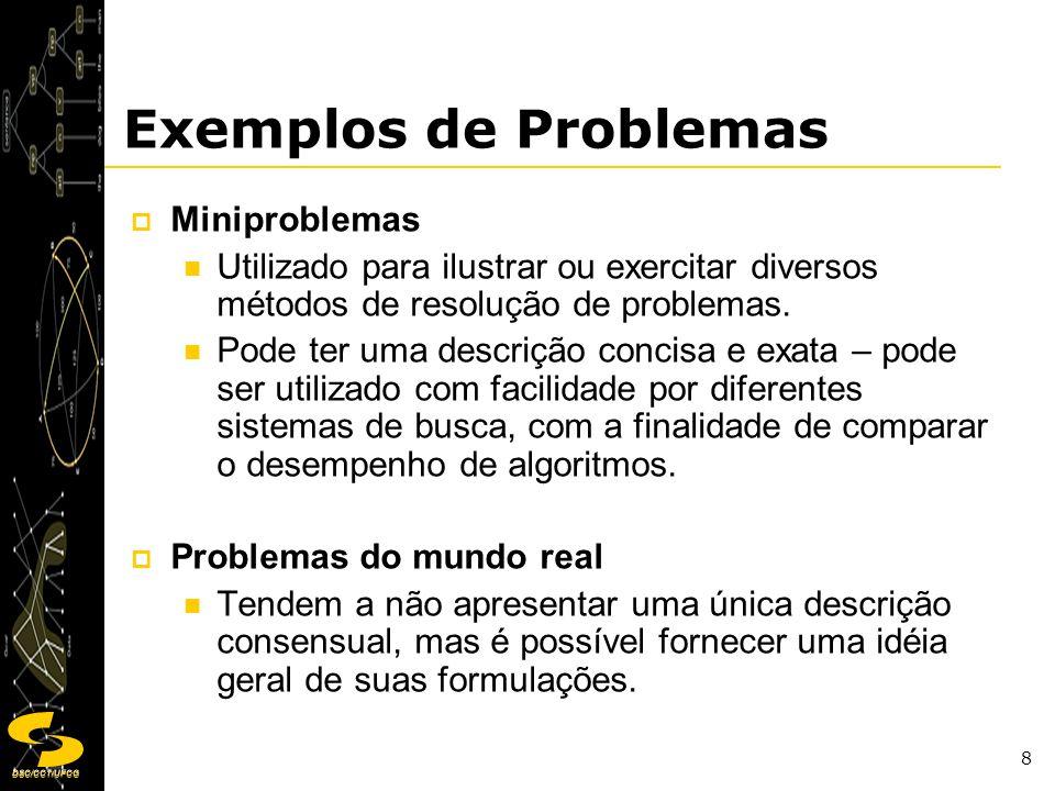 DSC/CCT/UFCG 9 Exemplos de Problemas Exemplos: Miniproblemas Mundo do Aspirador de Pó Problema do Quebra-cabeça de 8 Peças Problema das 8 Rainhas Exemplos: Problemas do mundo real Problema de Roteamento Problema de Viagens Aéreas Problema de Tour Problema do Caixeiro Viajante Problema de Layout de VLSI Problema de Navegação de Robôs Problema da Seqüência Automática de Montagem Problema de Pesquisas na Internet