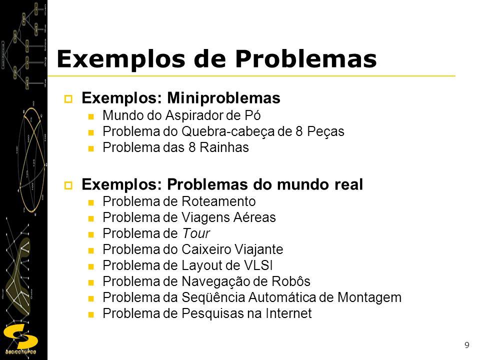 DSC/CCT/UFCG 9 Exemplos de Problemas Exemplos: Miniproblemas Mundo do Aspirador de Pó Problema do Quebra-cabeça de 8 Peças Problema das 8 Rainhas Exem