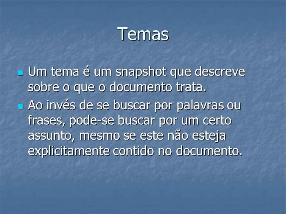 Temas Um tema é um snapshot que descreve sobre o que o documento trata. Um tema é um snapshot que descreve sobre o que o documento trata. Ao invés de