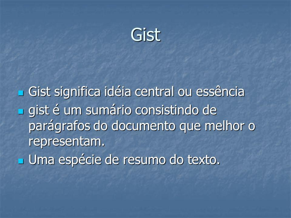 Gist Gist significa idéia central ou essência Gist significa idéia central ou essência gist é um sumário consistindo de parágrafos do documento que me