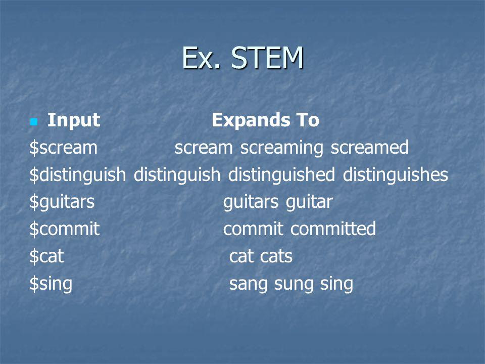 Ex. STEM Input Expands To $scream scream screaming screamed $distinguish distinguish distinguished distinguishes $guitars guitars guitar $commit commi