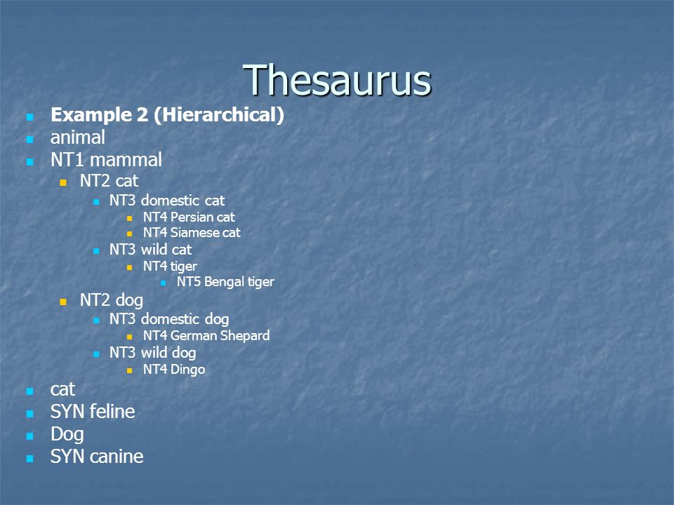 Thesaurus Example 2 (Hierarchical) animal NT1 mammal NT2 cat NT3 domestic cat NT4 Persian cat NT4 Siamese cat NT3 wild cat NT4 tiger NT5 Bengal tiger
