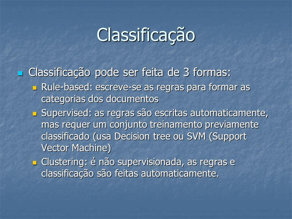 Classificação Classificação pode ser feita de 3 formas: Classificação pode ser feita de 3 formas: Rule-based: escreve-se as regras para formar as cate