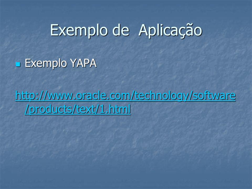 Exemplo de Aplicação Exemplo YAPA Exemplo YAPA http://www.oracle.com/technology/software /products/text/1.html http://www.oracle.com/technology/softwa