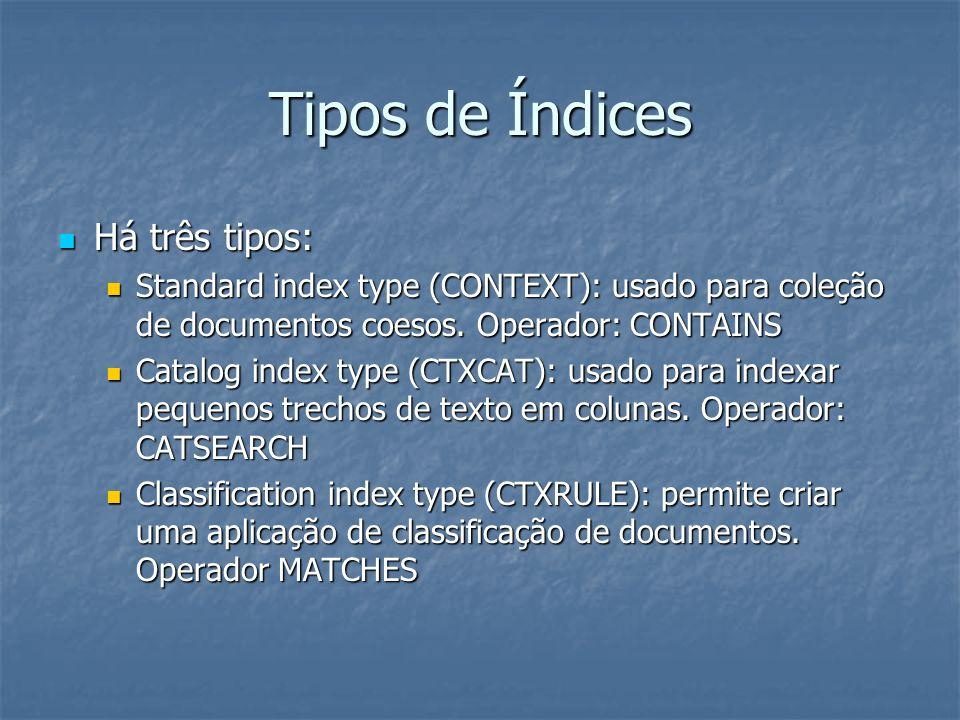 Tipos de Índices Há três tipos: Há três tipos: Standard index type (CONTEXT): usado para coleção de documentos coesos. Operador: CONTAINS Standard ind