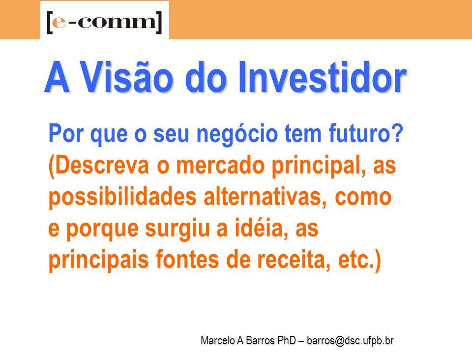 Marcelo A Barros PhD – barros@dsc.ufpb.br A Visão do Investidor Por que a empresa reúne as condições para tocar o negócio.