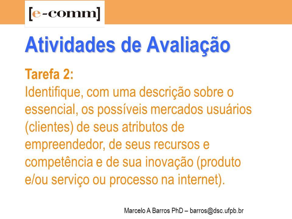 Marcelo A Barros PhD – barros@dsc.ufpb.br Tarefa 3: Identifique necessidades não atendidas detectadas nos possíveis mercados investigados e descreva 3 delas, em ordem de prioridade, que podem se caracterizar como oportunidades para você.