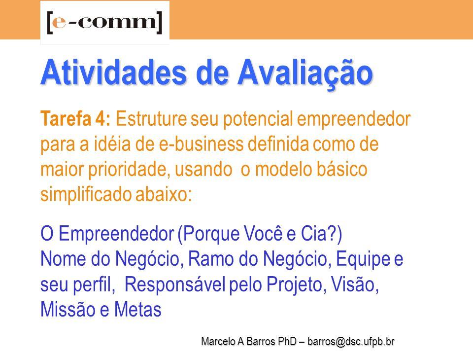 Marcelo A Barros PhD – barros@dsc.ufpb.br Tarefa 5: Estruture sua idéia de inovação para o e-commerce (produto e/ou serviço ou processo na internet), usando o modelo básico simplificado abaixo.