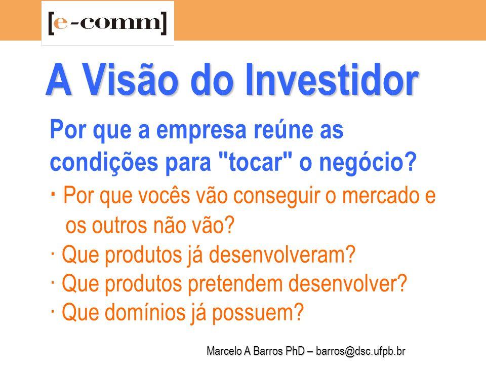 Marcelo A Barros PhD – barros@dsc.ufpb.br A Visão do Investidor Em que fase o projeto se encontra .