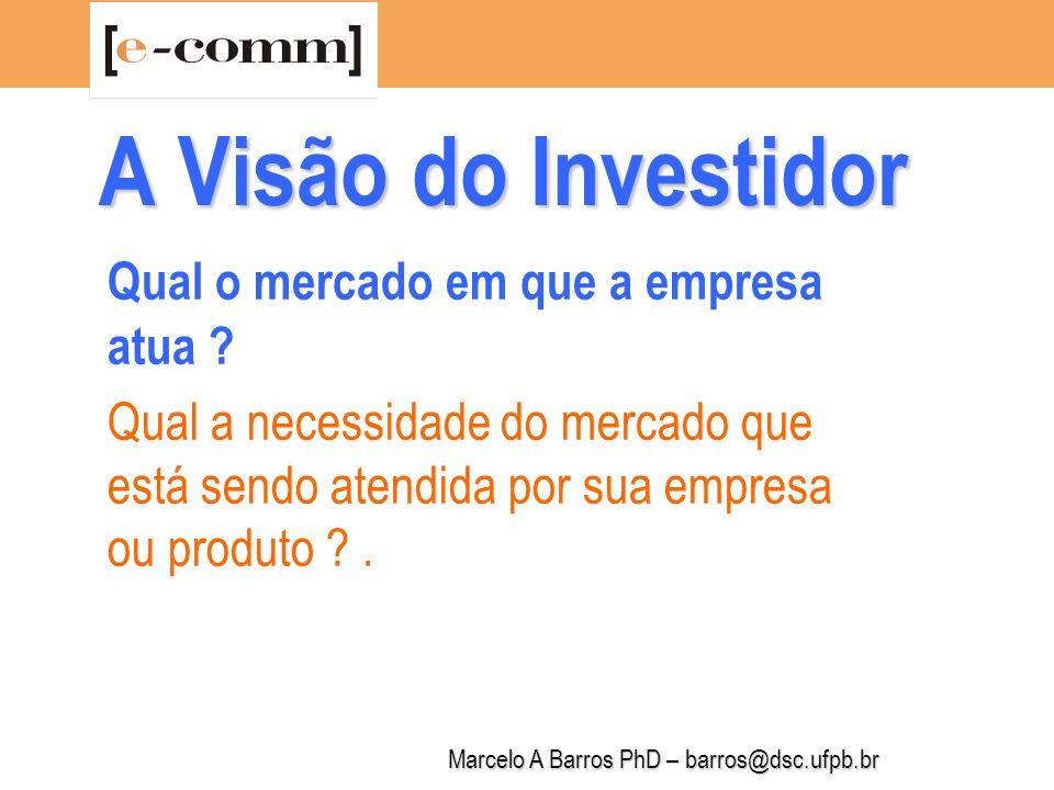 Marcelo A Barros PhD – barros@dsc.ufpb.br A Visão do Investidor Quem são os clientes potenciais.