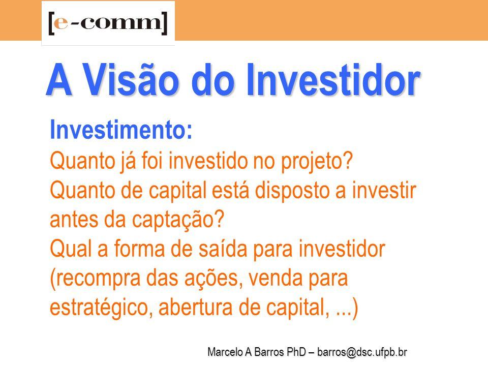Marcelo A Barros PhD – barros@dsc.ufpb.br A Visão do Investidor O que você quer.