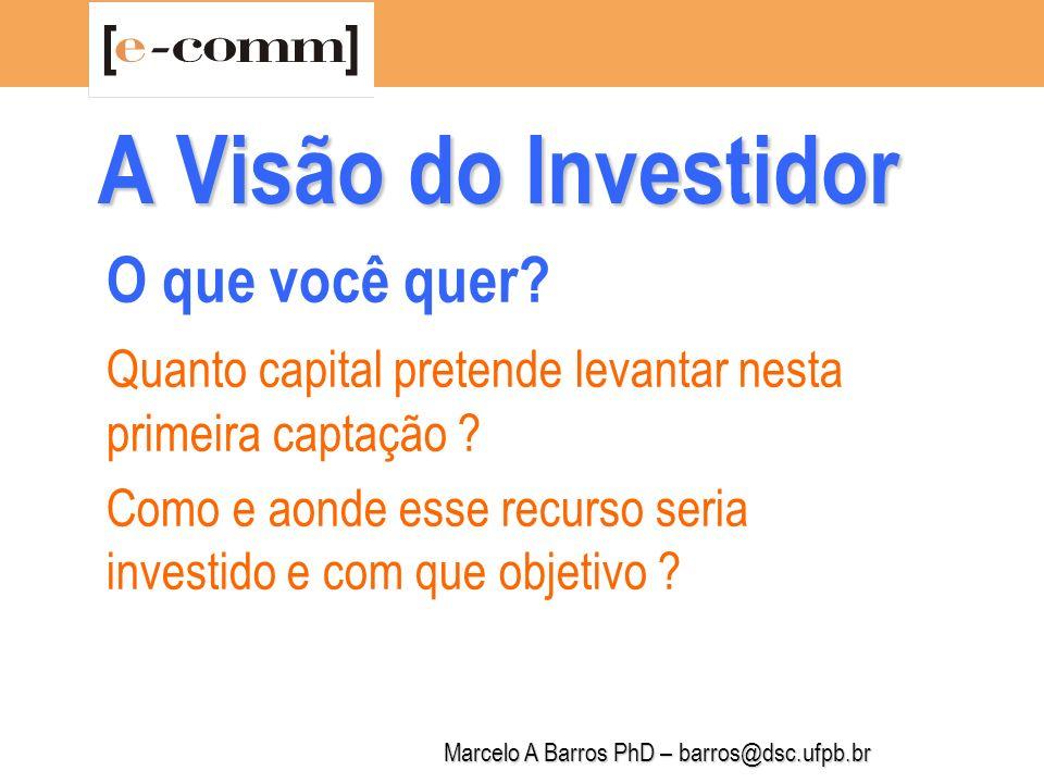 Marcelo A Barros PhD – barros@dsc.ufpb.br A Visão do Investidor Qual é o fluxo de caixa previsto para os próximos 12 trimestres .