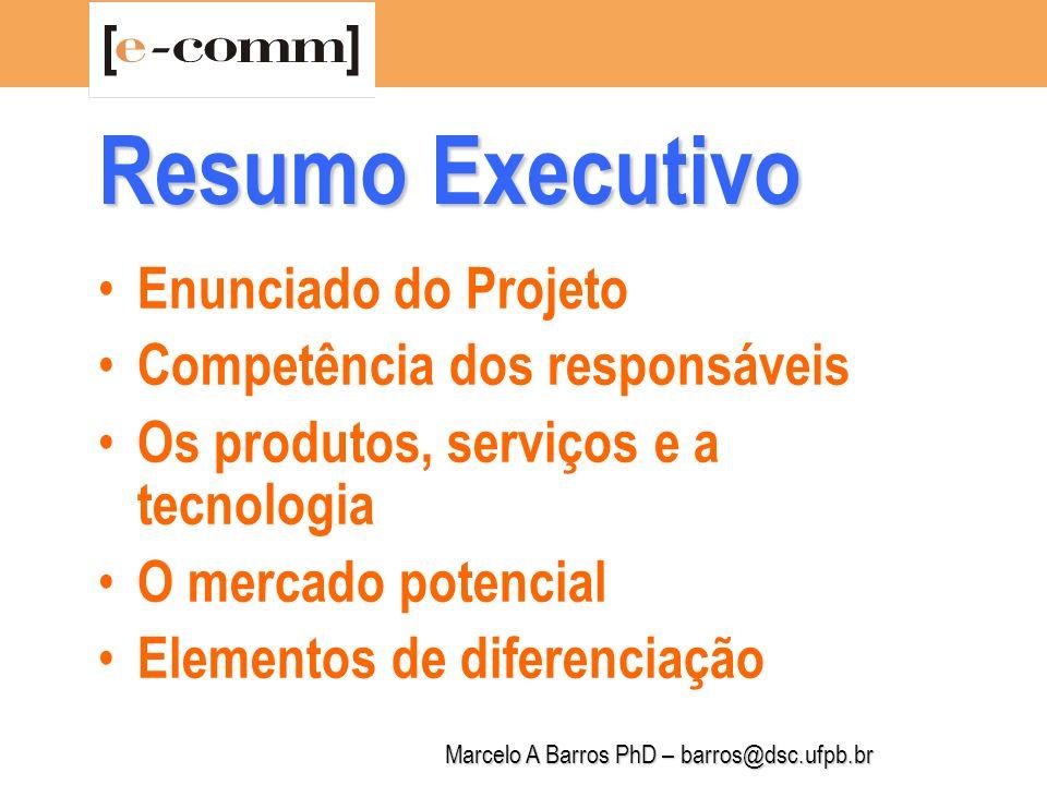 Marcelo A Barros PhD – barros@dsc.ufpb.br Resumo Executivo Previsão de vendas Rentabilidade e projeções financeiras Necessidades de financiamento