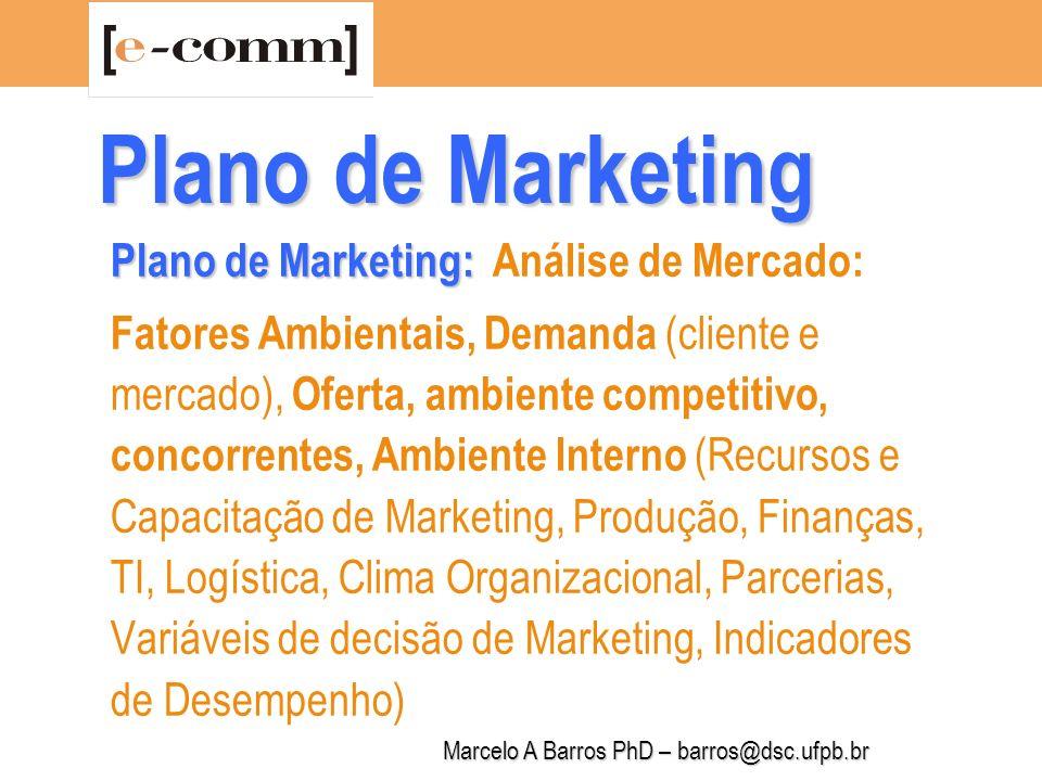 Marcelo A Barros PhD – barros@dsc.ufpb.br Plano de Marketing Análise da Demanda Análise das características do consumidor/cliente (atitudes, comportamentos, necessidades, desejos etc.): Segmentação Progressiva do Mercado