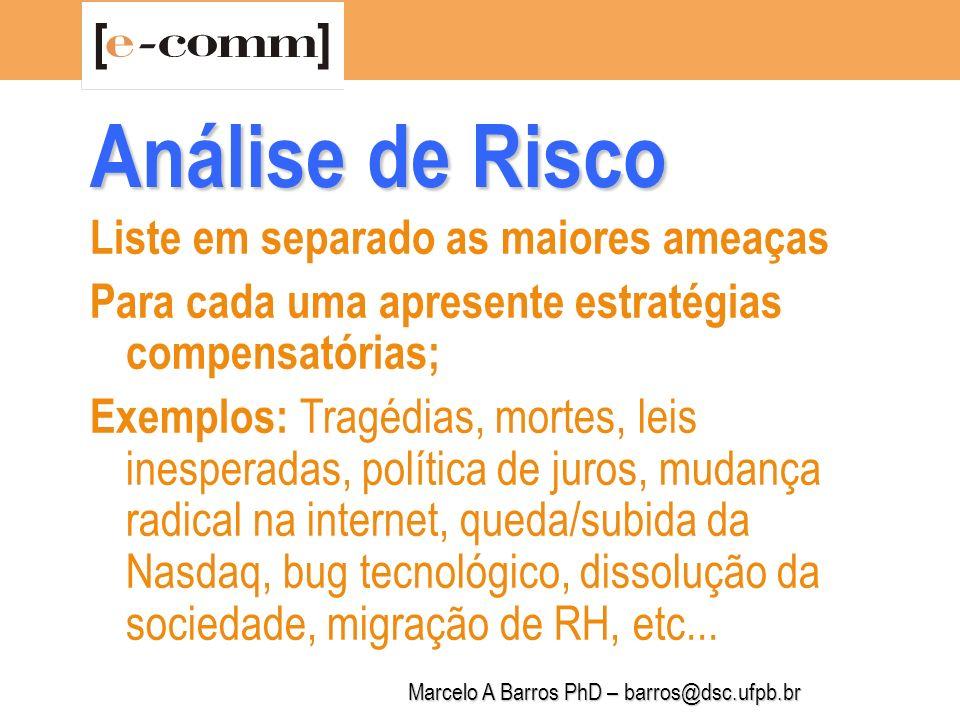 Marcelo A Barros PhD – barros@dsc.ufpb.br Análise de Risco Prod/Serv Existente Prod/Serv Novo Cliente Existente BaixoModerado Cliente NovoModeradoAlto