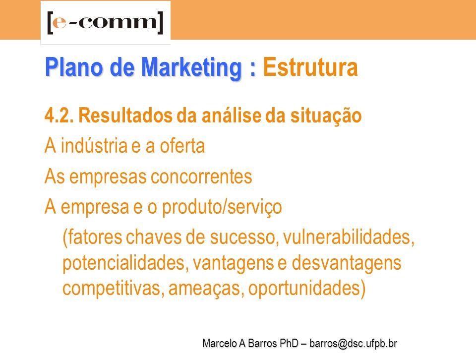 Marcelo A Barros PhD – barros@dsc.ufpb.br Plano de Marketing : Plano de Marketing : Estrutura 4.3.