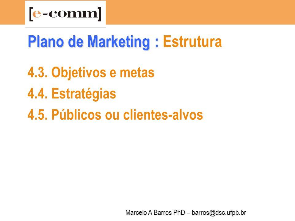 Marcelo A Barros PhD – barros@dsc.ufpb.br Plano de Marketing : Plano de Marketing : Estrutura 4.6.