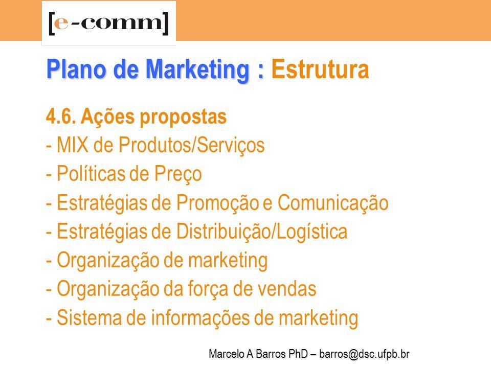 Marcelo A Barros PhD – barros@dsc.ufpb.br Plano de Marketing : Plano de Marketing : Estrutura 4.7.