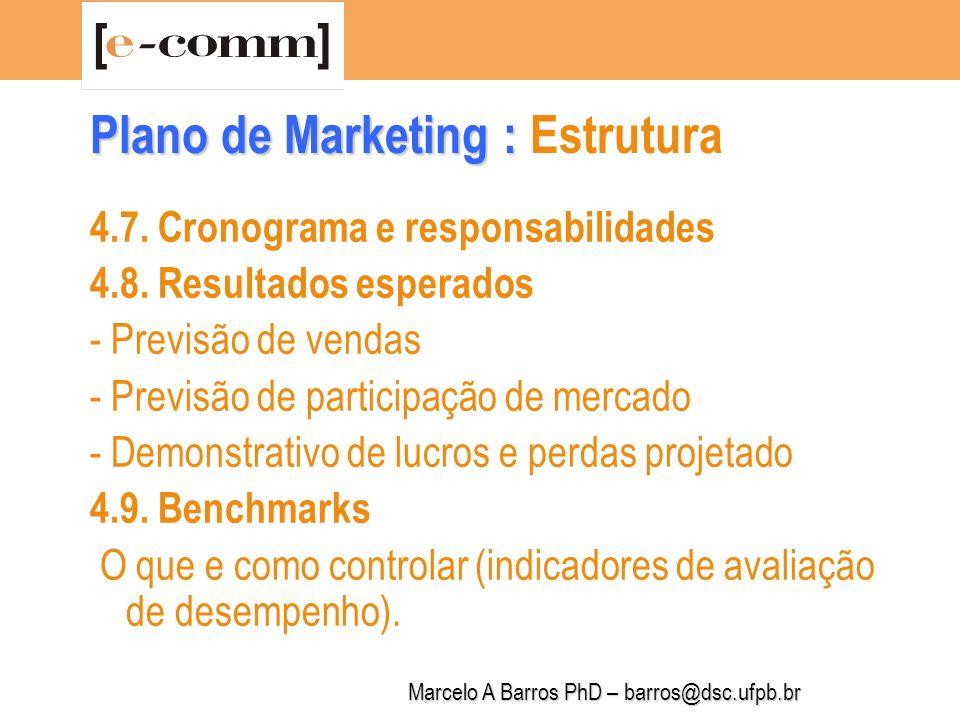 Marcelo A Barros PhD – barros@dsc.ufpb.br Plano de Marketing : Plano de Marketing : Estrutura 5.