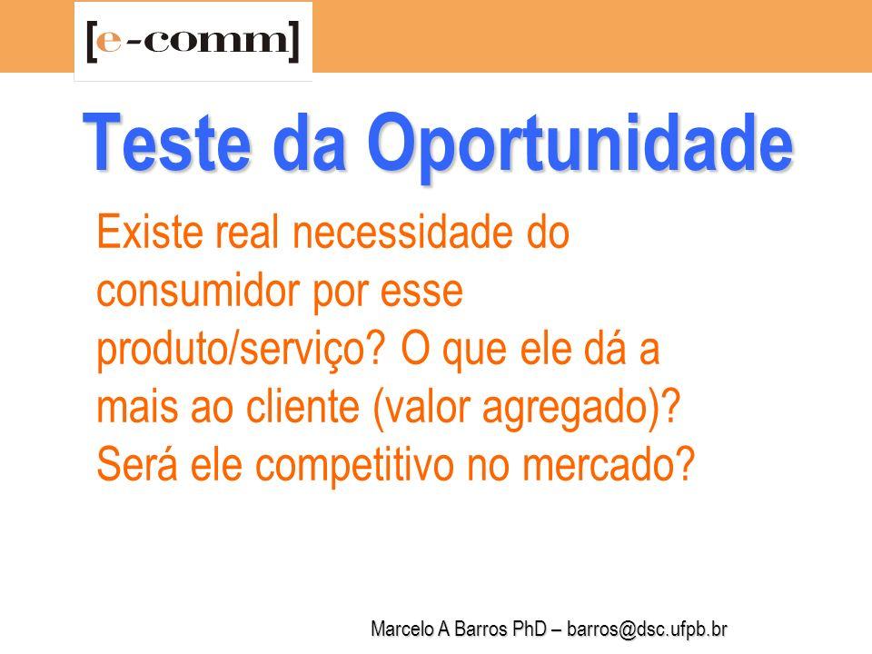 Marcelo A Barros PhD – barros@dsc.ufpb.br Teste da Oportunidade Poderei lançar o produto/serviço no mercado de maneira rentável e lucrativa.