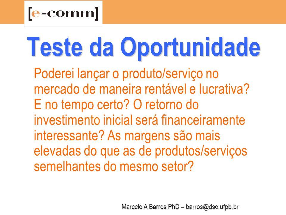 Marcelo A Barros PhD – barros@dsc.ufpb.br Teste da Oportunidade Estamos na era da hiper-segmentação.