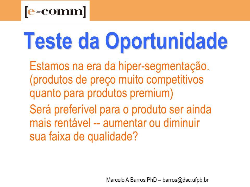 Marcelo A Barros PhD – barros@dsc.ufpb.br Teste da Oportunidade Terei vantagens competitivas para implementar (desenvolver), distribuir, lançar no mercado, exportar esse produto.