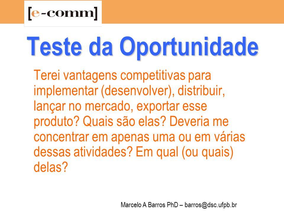 Marcelo A Barros PhD – barros@dsc.ufpb.br Teste da Oportunidade É mais lucrativo terceirizar o desenvolvimento e me concentrar no lançamento do produto no mercado (marketing).