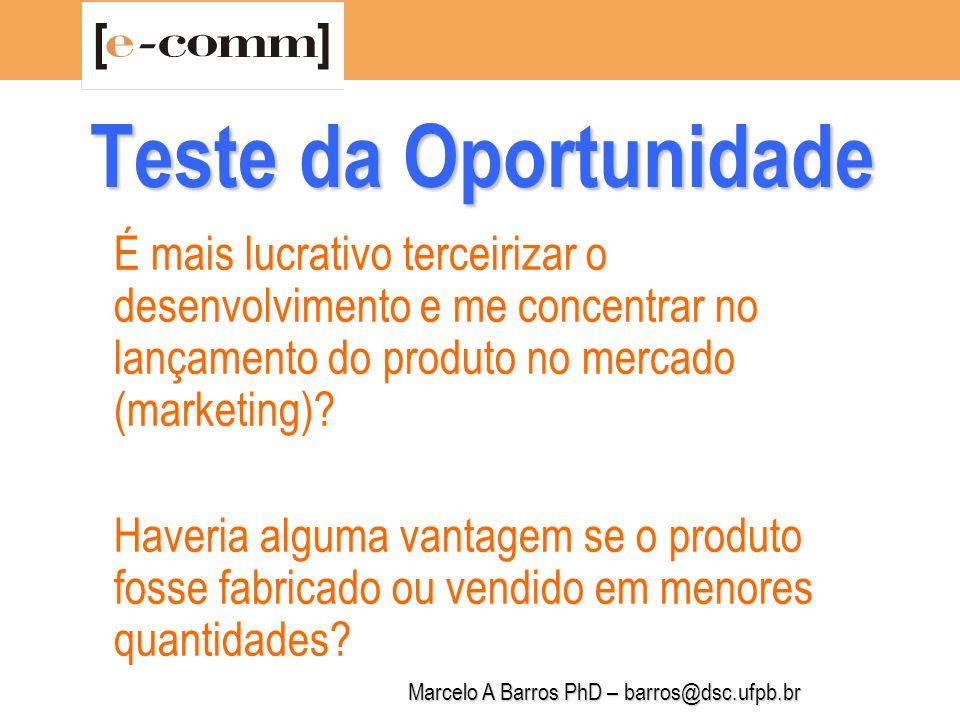 Marcelo A Barros PhD – barros@dsc.ufpb.br Teste da Oportunidade Este é o momento propício para lançar o produto/serviço.