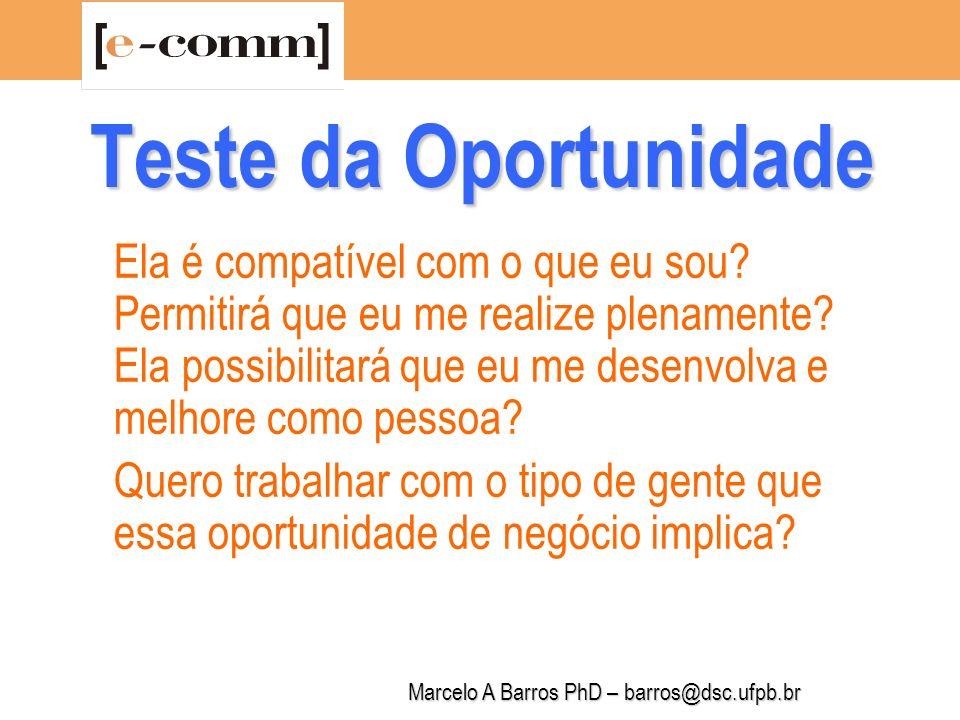 Marcelo A Barros PhD – barros@dsc.ufpb.br Teste da Oportunidade Como eu me situo em relação a cultura do setor.
