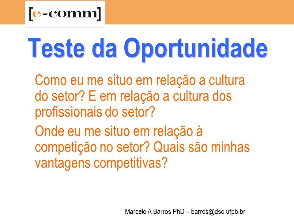Marcelo A Barros PhD – barros@dsc.ufpb.br Teste da Oportunidade Tenho conhecimentos suficientes sobre o mercado, os clientes, os fornecedores e investidores.