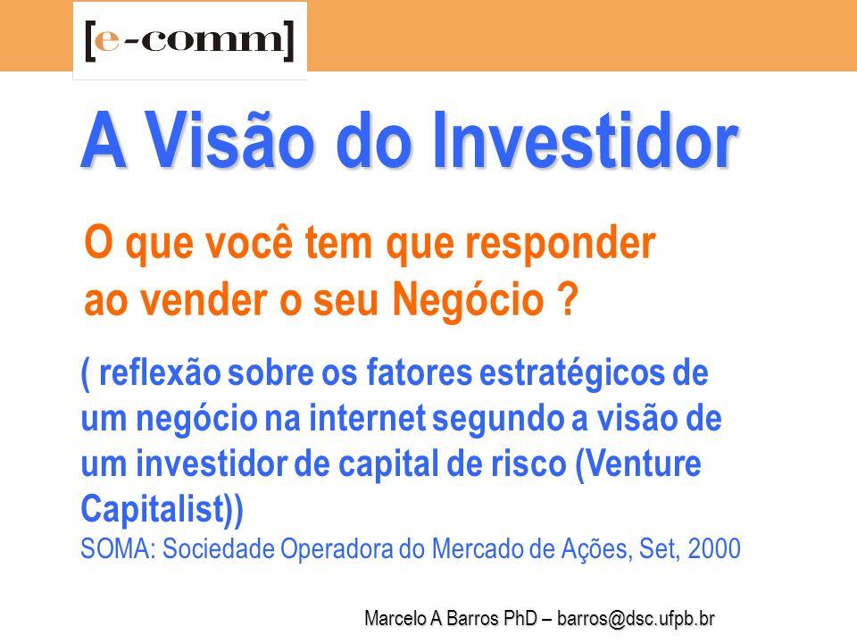 Marcelo A Barros PhD – barros@dsc.ufpb.br A Visão do Investidor Por que o seu negócio tem futuro.
