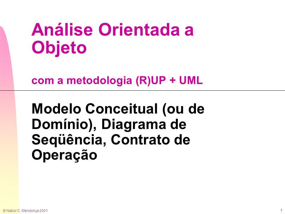 © Nabor C. Mendonça 2001 1 Análise Orientada a Objeto com a metodologia (R)UP + UML Modelo Conceitual (ou de Domínio), Diagrama de Seqüência, Contrato