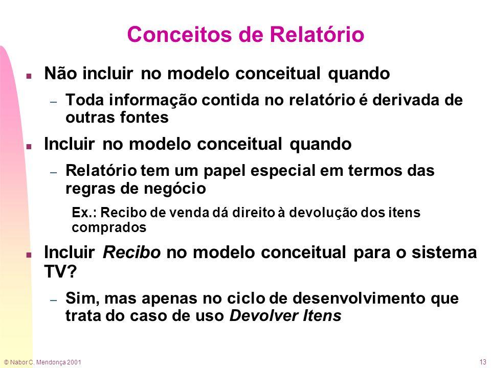 © Nabor C. Mendonça 2001 13 Conceitos de Relatório n Não incluir no modelo conceitual quando – Toda informação contida no relatório é derivada de outr
