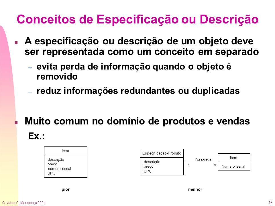 © Nabor C. Mendonça 2001 16 n A especificação ou descrição de um objeto deve ser representada como um conceito em separado – evita perda de informação