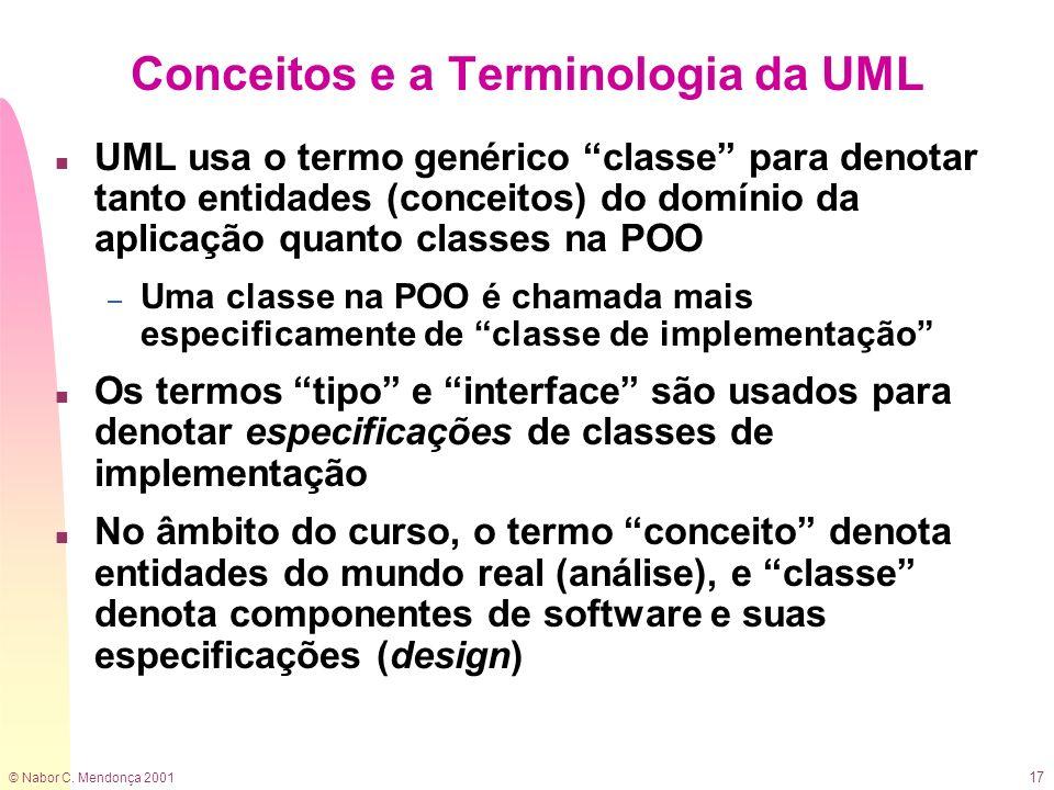 © Nabor C. Mendonça 2001 17 Conceitos e a Terminologia da UML n UML usa o termo genérico classe para denotar tanto entidades (conceitos) do domínio da