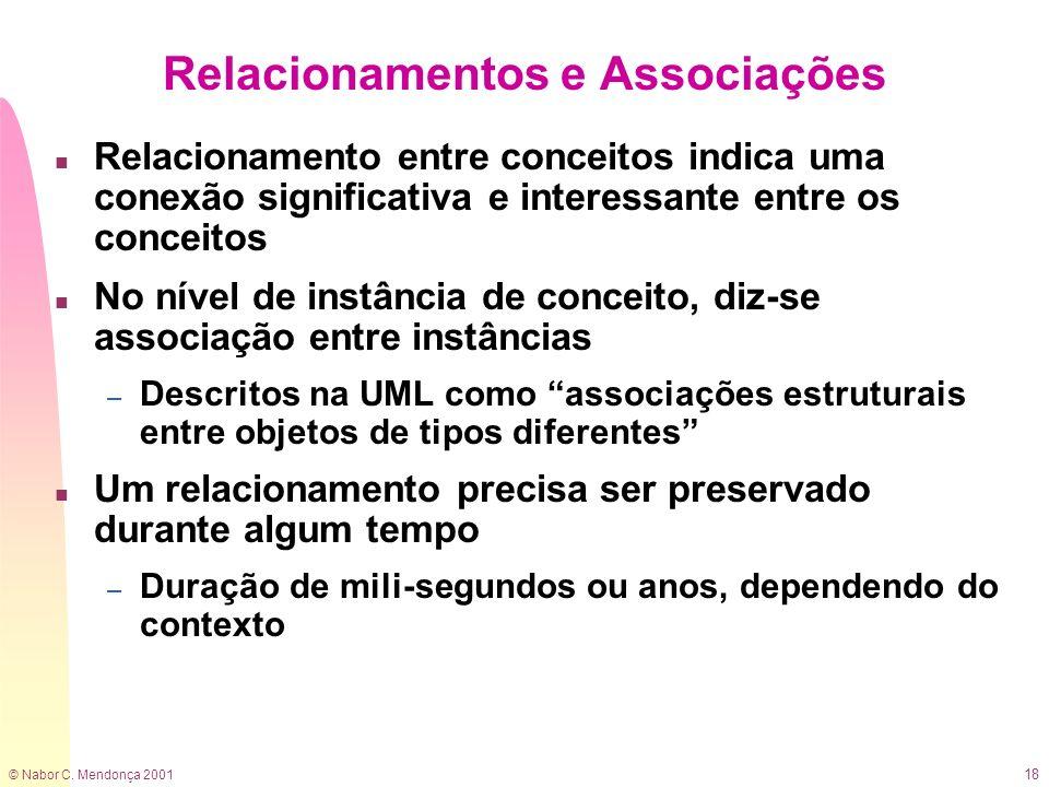 © Nabor C. Mendonça 2001 18 Relacionamentos e Associações n Relacionamento entre conceitos indica uma conexão significativa e interessante entre os co