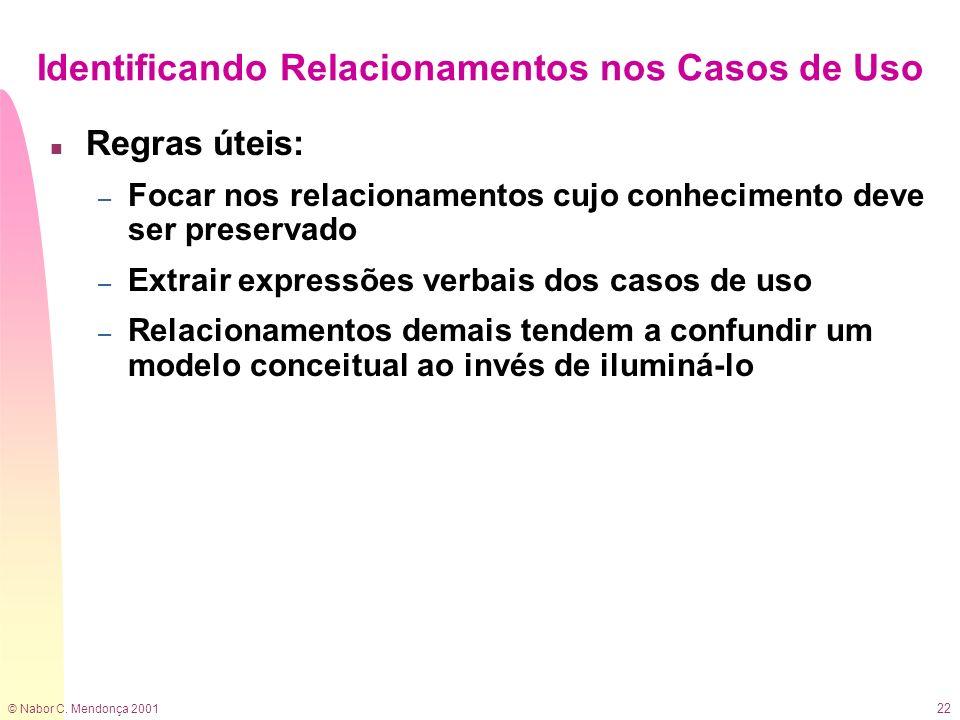 © Nabor C. Mendonça 2001 22 Identificando Relacionamentos nos Casos de Uso n Regras úteis: – Focar nos relacionamentos cujo conhecimento deve ser pres