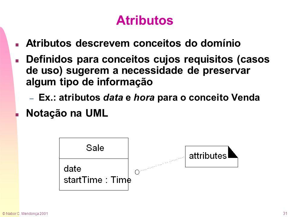 © Nabor C. Mendonça 2001 31 Atributos n Atributos descrevem conceitos do domínio n Definidos para conceitos cujos requisitos (casos de uso) sugerem a