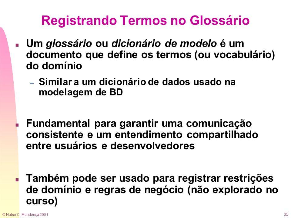 © Nabor C. Mendonça 2001 35 Registrando Termos no Glossário n Um glossário ou dicionário de modelo é um documento que define os termos (ou vocabulário