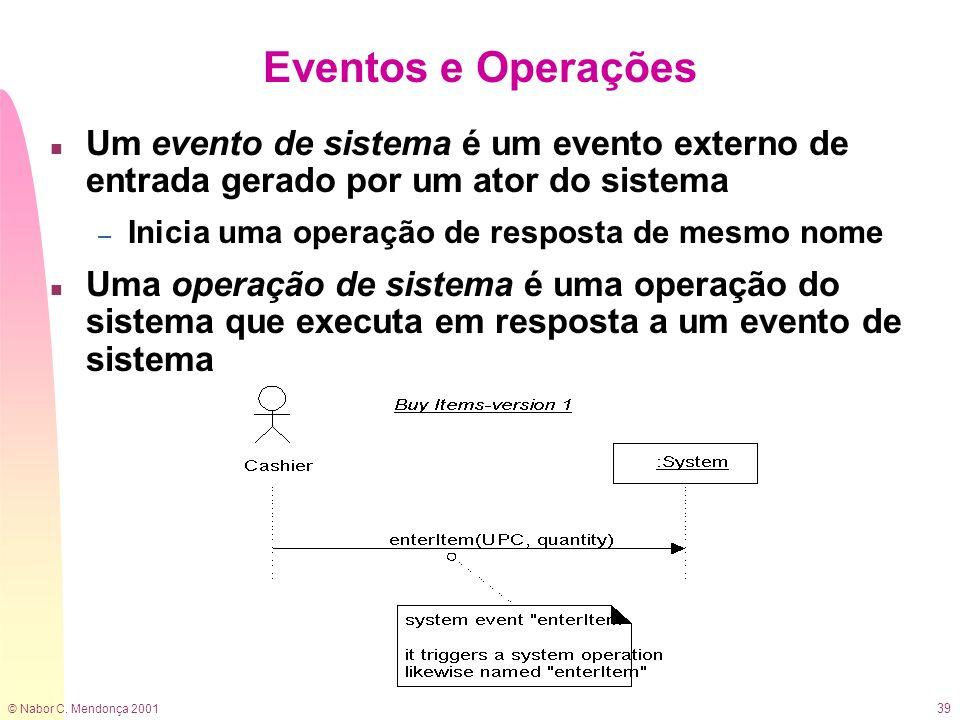 © Nabor C. Mendonça 2001 39 Eventos e Operações n Um evento de sistema é um evento externo de entrada gerado por um ator do sistema – Inicia uma opera