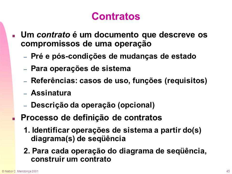 © Nabor C. Mendonça 2001 45 Contratos n Um contrato é um documento que descreve os compromissos de uma operação – Pré e pós-condições de mudanças de e