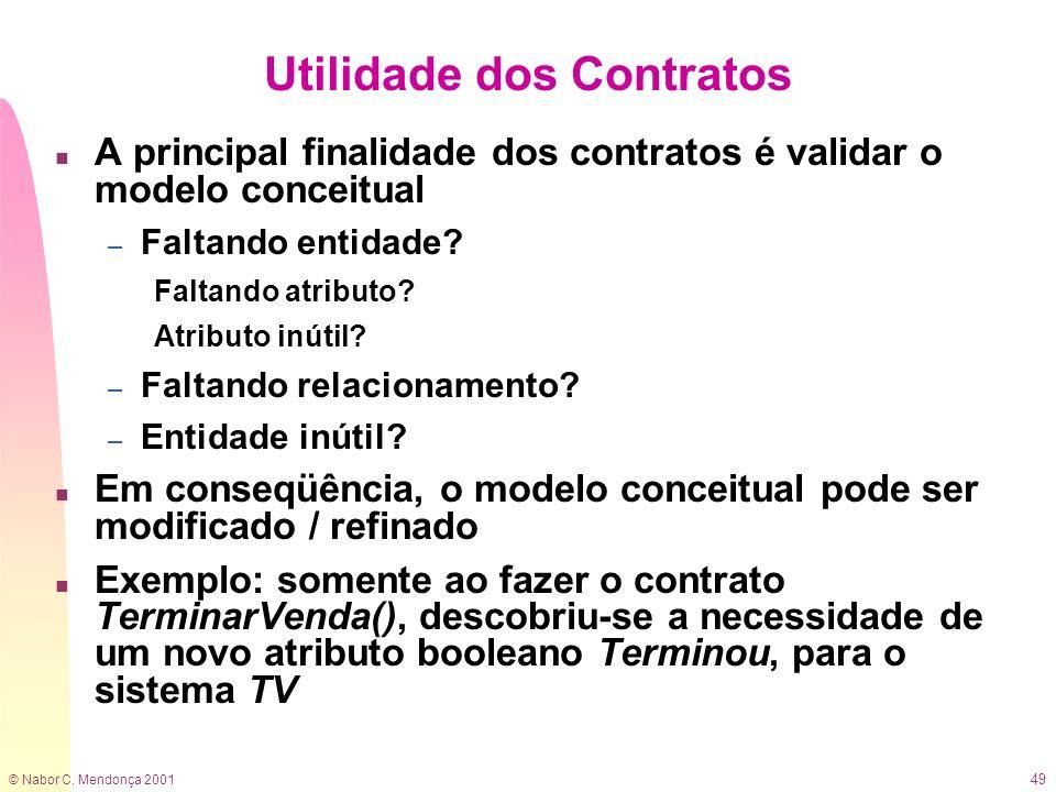 © Nabor C. Mendonça 2001 49 Utilidade dos Contratos n A principal finalidade dos contratos é validar o modelo conceitual – Faltando entidade? Faltando