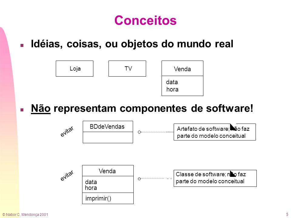 © Nabor C. Mendonça 2001 5 n Idéias, coisas, ou objetos do mundo real n Não representam componentes de software! Conceitos LojaTV Venda data hora BDde