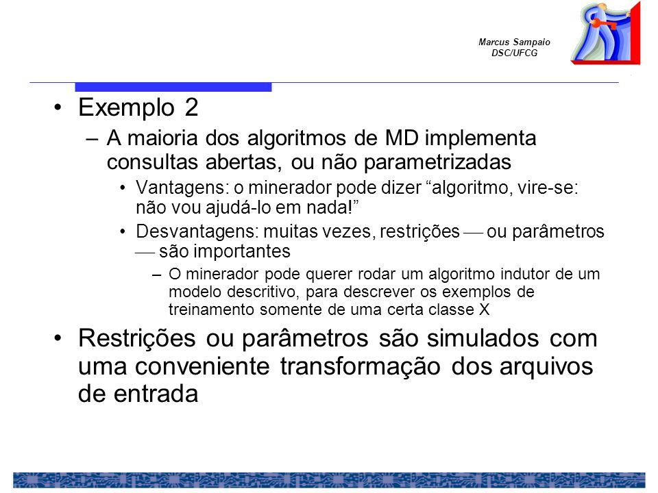 Marcus Sampaio DSC/UFCG Exemplo 2 –A maioria dos algoritmos de MD implementa consultas abertas, ou não parametrizadas Vantagens: o minerador pode dize