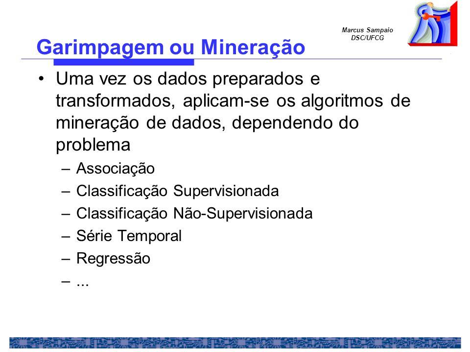 Marcus Sampaio DSC/UFCG Uma vez os dados preparados e transformados, aplicam-se os algoritmos de mineração de dados, dependendo do problema –Associaçã