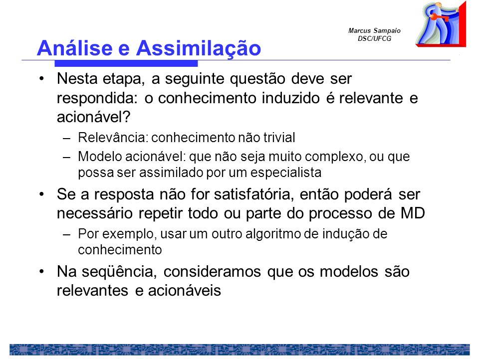 Marcus Sampaio DSC/UFCG Nesta etapa, a seguinte questão deve ser respondida: o conhecimento induzido é relevante e acionável? –Relevância: conheciment