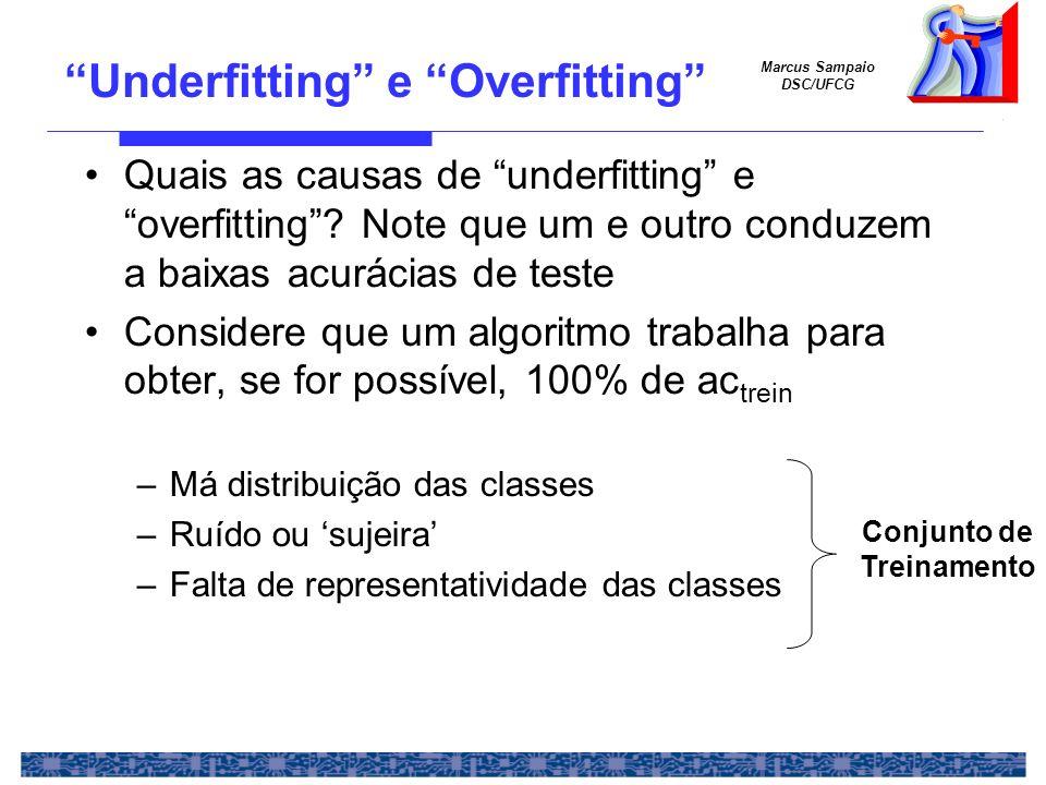 Marcus Sampaio DSC/UFCG Underfitting e Overfitting Quais as causas de underfitting e overfitting? Note que um e outro conduzem a baixas acurácias de t
