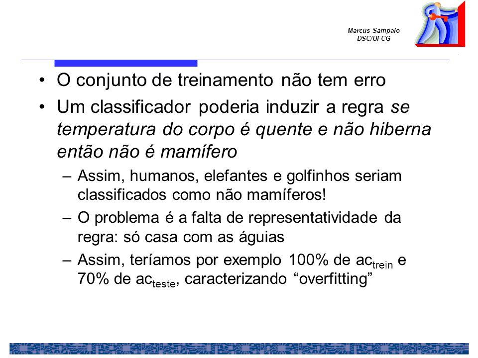 Marcus Sampaio DSC/UFCG O conjunto de treinamento não tem erro Um classificador poderia induzir a regra se temperatura do corpo é quente e não hiberna