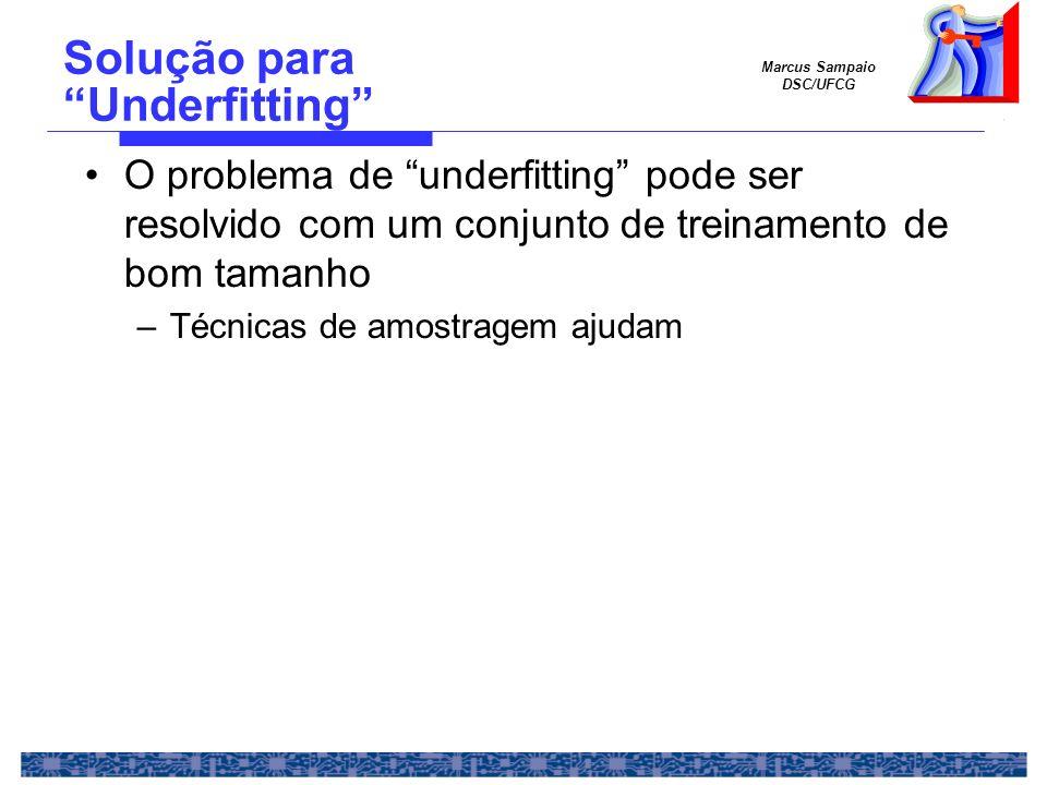 Marcus Sampaio DSC/UFCG Solução para Underfitting O problema de underfitting pode ser resolvido com um conjunto de treinamento de bom tamanho –Técnica