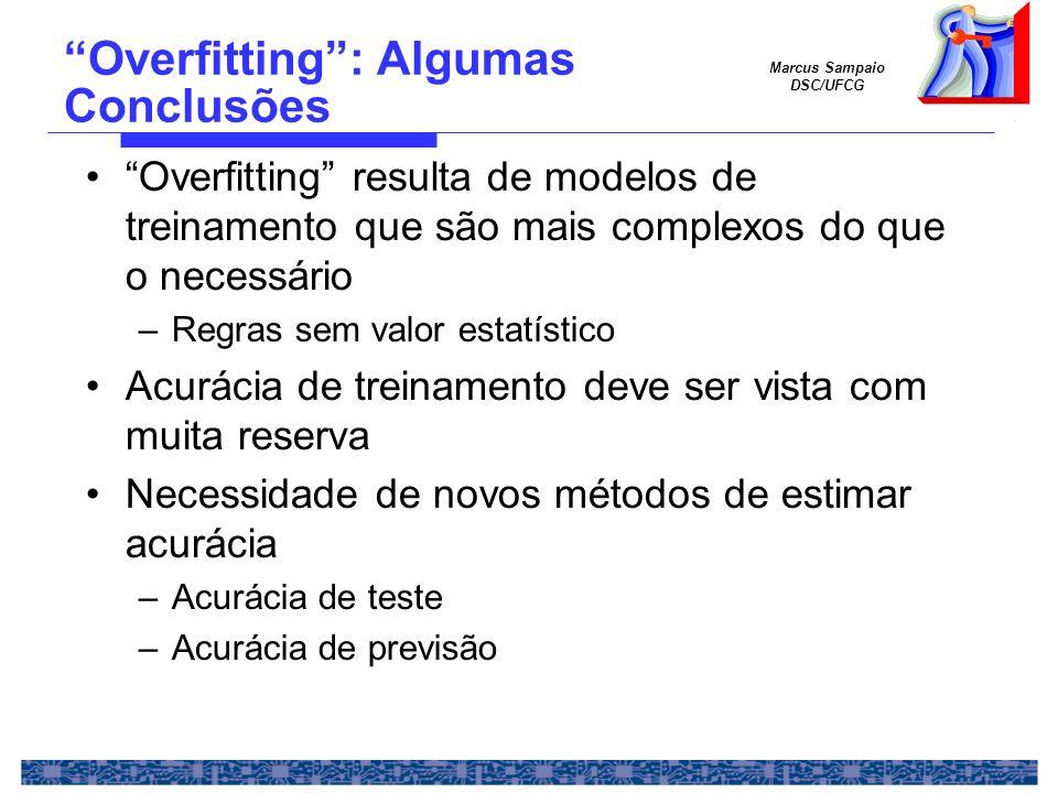 Marcus Sampaio DSC/UFCG Overfitting resulta de modelos de treinamento que são mais complexos do que o necessário –Regras sem valor estatístico Acuráci
